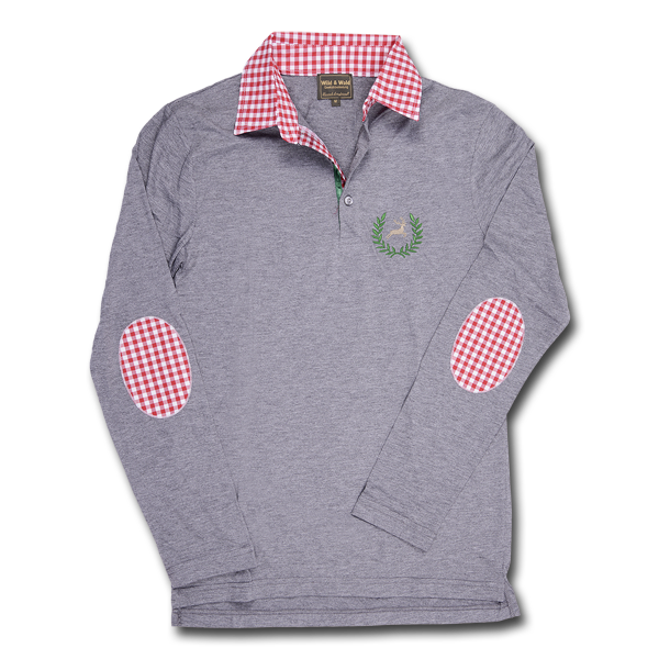 Wild & Wald Herren Poloshirt Haslau langarm Grau/Rot im Pareyshop