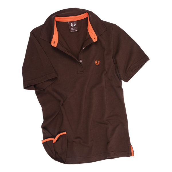 KEYLER Damen Poloshirt Dunkelbraun-Orange im Pareyshop