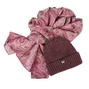 KEYLER Winter-Set Damen Beere (Mütze + Paisley-Schal) im Pareyshop