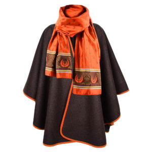 Set: KEYLER Damen (Lodenponcho + Seidenschal Orange) im Pareyshop