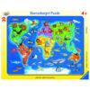 Puzzle: Weltkarte mit Tieren im Pareyshop