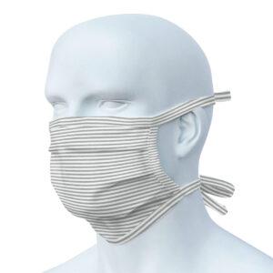 Mund-Nasen-Maske Grau-Weiß gestreift im Pareyshop