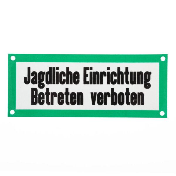 """Aluminium-Schild """"Jagdliche Einrichtung"""" im Pareyshop"""