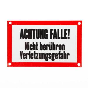 """Aluminium-Schild """"Achtung Falle"""" im Pareyshop"""