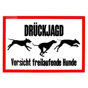 """Aluminium-Schild """"Drückjagd - Vorsicht freilaufende Hunde"""" im Pareyshop"""