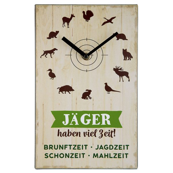 """Wanduhr """"Jäger haben viel Zeit"""" im Pareyshop"""