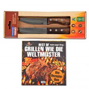Grillen wie die Weltmeister: Das Männer-Set für den Grill (Rezept-Box und 2 Steakmesser) im Pareyshop