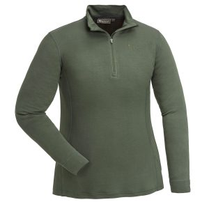 Pinewood Abisko Merino Base Layer Damen-Unterhemd Half Zip Moosgrün im Pareyshop